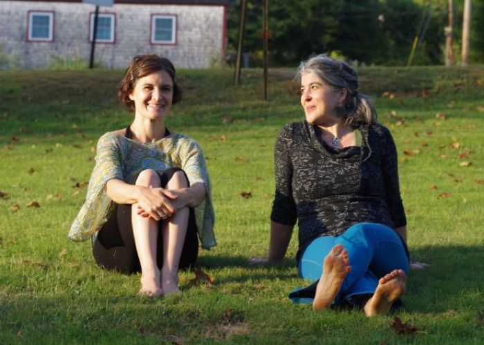 Sitting on the lawn during a retreat