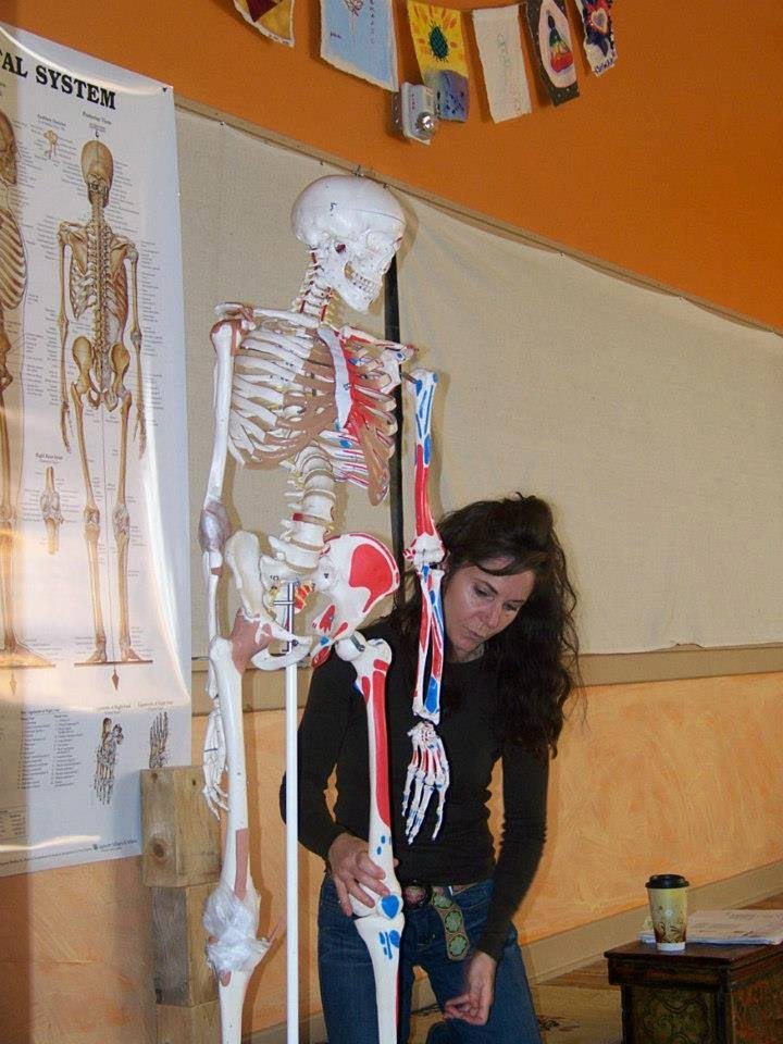 Anatomy instructor using a skeleton model during class