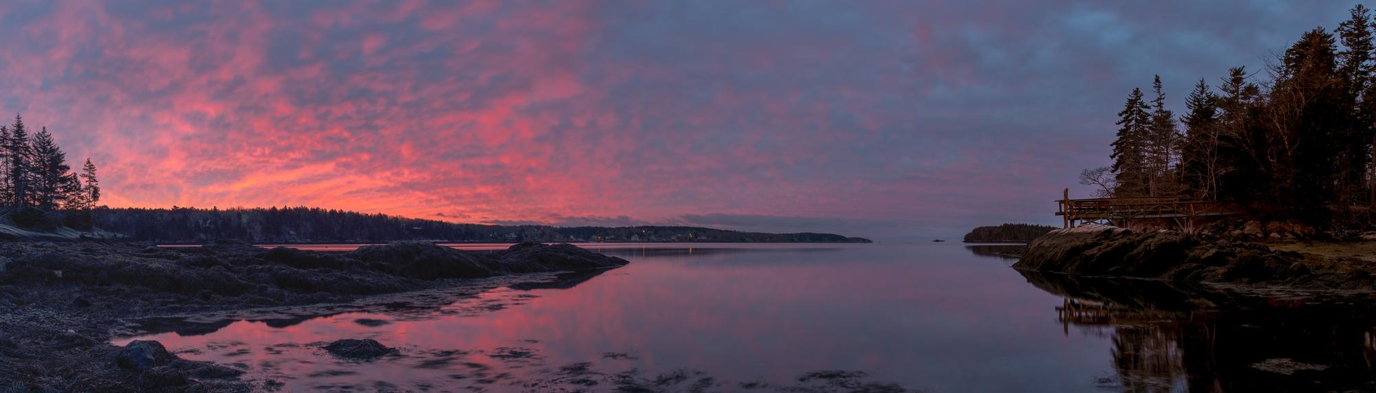 Sunrise over a midcoast Maine river inlet