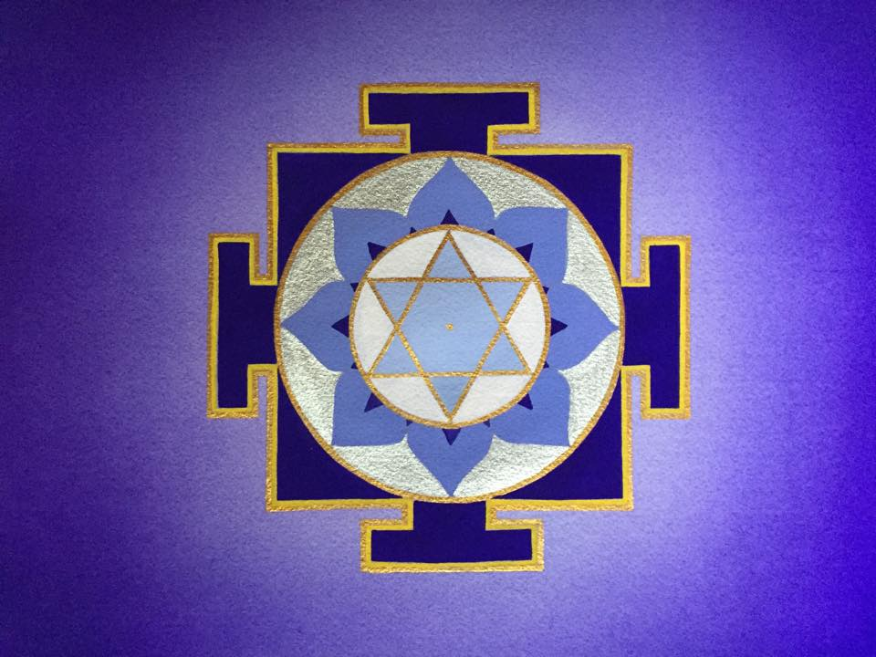blue yantra geometric design